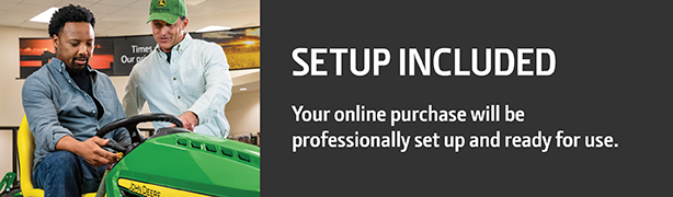 Image of a dealer with a headline that reads Setup Included, your online purchase will be professionally set up and ready for use.